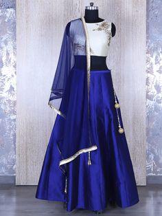 Royal Blue Wedding Silk Lehenga Choli