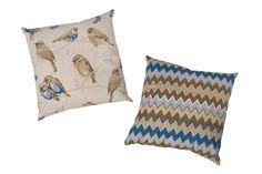 Kit de Almofadas Sarja Pássaros e Zig-Zag Marrom | Decoração | Meu Móvel de Madeira