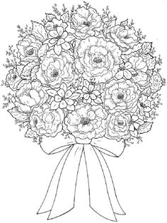 Bouquet Of Flowers Coloring Page Pages Flower Printable Free
