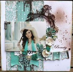 Beauty ~ Love the simple paper strip background, dark floral wreath and banner embellishment.