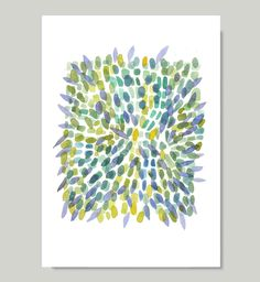 Explosion Spring print from original watercolor painting - reproduction green blue yellow petals. $22.00, via Etsy.