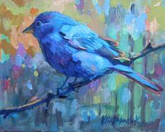 INDIGO BUNTING #4, painting by artist Elizabeth Blaylock