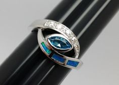 Lovely-Mexican-Fire-Opal-Silver-Ring-with-Blue-Clear-Accents-Size-6