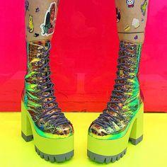 "12.6k Likes, 94 Comments - Dolls Kill (@dollskill) on Instagram: ""JUST LANDED #CurrentMood cosmic matter boots 💖🌈💚👽 dollskill.com/cozmic"""