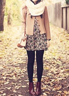pretty fall outfit via a shress a day ♥ Love the mix of structured jacket, floral feminine skirt & dark tights with ankle boot's! Mode Outfits, Casual Outfits, Fashion Outfits, Fashion Scarves, Womens Fashion, Fashion Clothes, Skirt Outfits, Feminine Fall Outfits, Fall Fashion Skirts