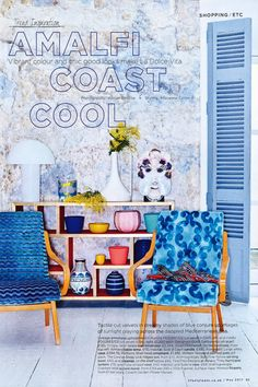 An Amalfi inspired shoot featuring two of our vintage armchairs upholstered in Murrine Delft and Iridato Sky, as seen in Living etc, UK