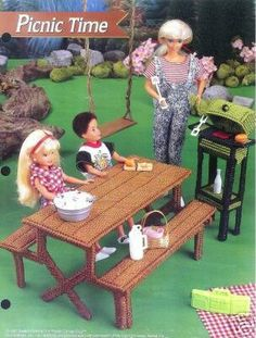 Plastic Canvas Barbie Fashion Doll Pattern PICNIC by SureShopping, $5.99