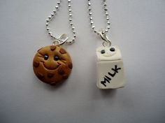 Cookie  Milk Best Friends Necklaces by ArtbyAshLigon on Etsy