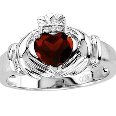 Fine Jewelry Heart-Shaped Genuine White Topaz and Diamond-Accent Sterling Silver Claddagh Ring FCsSn4BR
