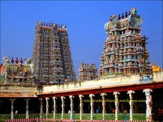 #Madurai Meenakshi Temple - #Temple is dedicated to lord Parvati who is known as Meenakshi and Shiva who is known as Sundareswara. The temple is located in the southern bank of river Vaigai and is situated in  the heart of  the city of  Madurai, Tamil Nadu in South India, covering an area of 17 acres, the entire city being  built around it. #travel #vacation