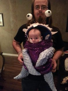 Boo Costume made to fit over a baby backpack <3