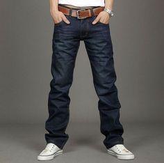 Casual Style Bleach Wash Straight Leg Solid Color Denim Pants For Men (DEEP BLUE,34) | Sammydress.com