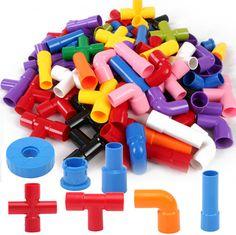 Baby Kids Pipeline Tunnel Block Model Toy Kids DIY Assembling 3D Water Pipe Building Blocks Educational Toy for Children