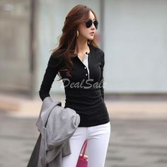 New Women's Fashion Long Sleeve Slim Fitting Warm Thickening Casual Blouse Tops Shirt $6.36