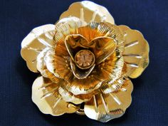 """Vintage 60s Metal Rose Flower Brooch Pin Gold Tone 1.75"""", Coat Pin, Sweater Pin, Rhinestone, Mid Century, Costume Jewelry, Free Shipping by DecoOwl on Etsy"""