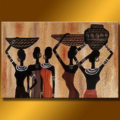 """Abstract African Women"" Oil Painting                                                                                                                                                      More"