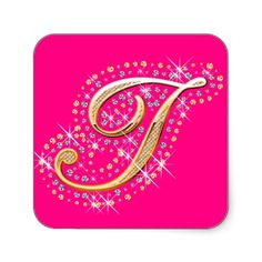 Pink Sticker with Initial I Letter J, Babys, Make Your Own, Bff, Diamonds, Stickers, Pink, Gold, Alphabet