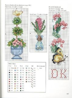 Topiary and Butterfly Bookmarks Cross Stitch Boarders, Butterfly Cross Stitch, Cross Stitch Bookmarks, Cross Stitch Cards, Simple Cross Stitch, Beaded Cross Stitch, Cross Stitch Flowers, Counted Cross Stitch Patterns, Cross Stitching