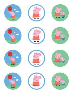Peppa Pig Birthday Party Cupcake Toppers / Stickers, 2-inch, Printable PDF