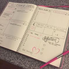 Weekly spread ideas and inspiration for bullet journaling - whether you are new to using a Bullet Journal, or a long-time pro! Bullet Journal Banners, Planner Bullet Journal, Bullet Journal Inspo, Bullet Journal Spread, Bullet Journal Layout, My Journal, Journal Pages, Bullet Journals, Fitness Journal