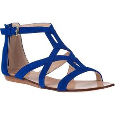 DOLCE VITA Ida Gladiator Sandal Blue Suede (445 GTQ) ❤ liked on Polyvore featuring shoes, sandals, flats, zapatos, blue, ankle strap sandals, wedge sandals, blue wedge sandals, blue flats and flat shoes