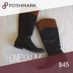 ✨HP✨ Two Tone Riding Boots Riding boots | Black with brown at top | short heel | originally from DSW | Side zipper Shoes