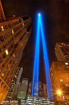 NYC. Sept 11th Lights. Low shot reinforce the perspective down to the vanishing point l