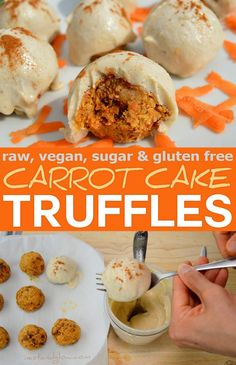 These easy to make raw carrot cake truffles are vegan, gluten free, refined sugar free and most importantly delicious. They are no bake, loaded with vitamins and minerals from the fruit / veg and nuts. Be sure to use gluten free oats if you don't eat gluten.  via @nestandglow