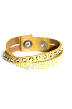 """Thin leather wrap bracelet with snap closure. Rhinestones are on the leather band. Gold/white snake skin print on one leather band. 7.5"""" to 9"""" length. Made in the USA.   Leather Wrap Bracelet by Leather Rock. Accessories - Jewelry - Bracelets Georgia"""