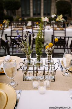 Rustic vintage details highlight this October wedding's table settings.