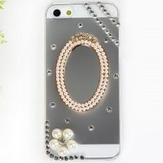 @everbuying  $6.07 Unique Design Rhinestones Clear Plastic Hard Case Cover for iPhone 5 with Mirror #gifts