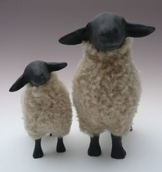Porcelain and Wool Suffolk Ewe and Lamb Figures by Colinscreatures Needle Felted Animals, Felt Animals, Wet Felting, Needle Felting, Steiff Teddy Bear, Teddy Bears, Primitive Sheep, Sheep Crafts, Sheep Art