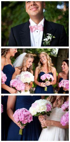 navy and pink bridesmaids