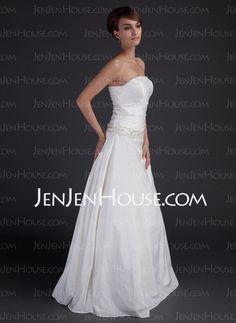 A-Line/Princess Strapless Floor-Length Taffeta Wedding Dresses With Ruffle  Beadwork (002001666)