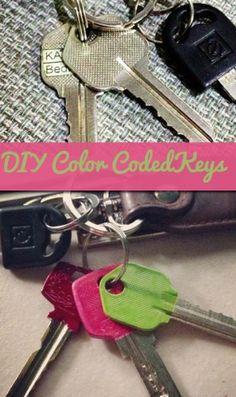 DIY Color Code Keys with Nail Polish #nail_polish #keys #DIY