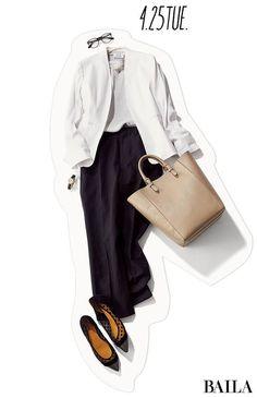残業明けは迷わず! 白ジャケット×パンツコーデで、いつでの素敵な先輩に♡-@BAILA Office Fashion, Business Fashion, Work Fashion, Fashion Design, Casual Outfits, Fashion Outfits, Womens Fashion, Fashion Trends, How To Have Style