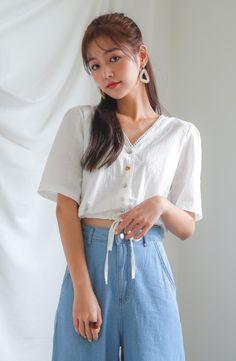 Envy Look - V-Neck Drawstring-Hem Blouse #koreanfashion #koreanstyle #blouse