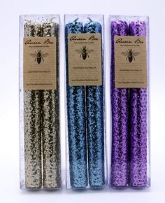 Queen Bee Natural Beeswax Glitter Candles boxed set of 2 - Blue >>> To view further for this item, visit the image link.