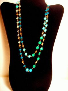 Vintage Stella Dot Turquoise Crystal Bead Necklace #StellaDot