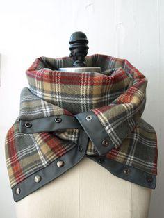 Scarf gray plaid Chunky wool circular infinity scarf by System63, $75.00