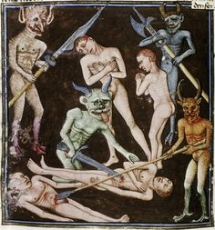 Devils attack the damned with weapons, from The book of our Lord's vineyard, 1470.
