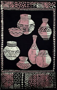 Stunning wall hanging of African pots. Handcrafted in Dar es Salaam, Tanzania, Africa.  Soft black velveteen.  Ready to hang to add that WOW factor to any room in your home or offfice  71cm x 94cm
