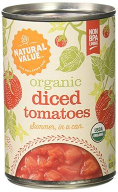 Natural Value Organic Diced Tomatoes in Tomato Juice 145 Ounce Cans Pack of 12 >>> Want additional info? Click on the image.
