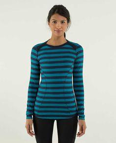 Lululemon Base Runner Long Sleeve $88.00Micro Macro Stripe Surge/Inkwell ~