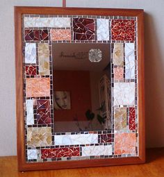 Glass mosaic mirror in wood frame Tiffany by FranciskARTstudio, Ft39000.00