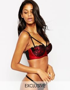 ASOS FULLER BUST Exclusive Lace Contrast Caged Underwire Bra