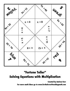 Solving Equations Fortune Teller Packet - An interesting way to incorporate a fun, inexpensive activity just using paper and creating a great way to practice math at all times. This would work best with third grade, 3.OA.3: Operations and Algebraic Thinking: Represent and solve problems involving multiplication and division.