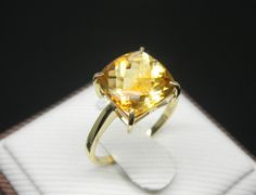 Engagement Ring -  3 Carat Citrine Ring With Diamonds In 14K Gold