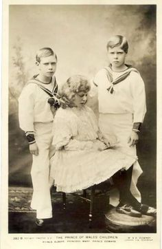 Mary the Princess Royal with her two of her five brothers, Edward the Abdicator, and Albert who became George VI, father of our present Queen