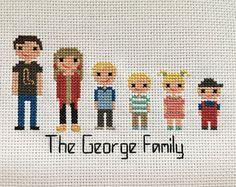 Stitch Family Cross Stitch Family Custom Family Portrait